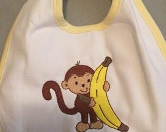 Monkey baby bib