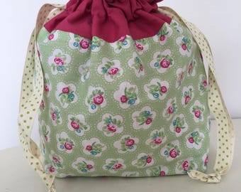 Knitting bags / knitting project bag / crochet case - Apple floral