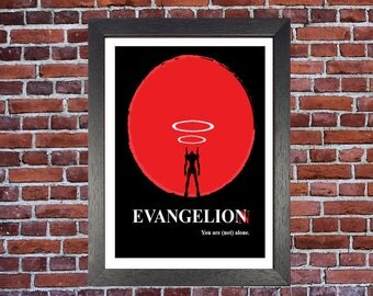 Evangelion Cult Japanese Manga Hand Drawn Illustrated Art Print Red Black White