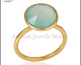 Aqua Chalcedony Gemstone Ring, Gold Plated 92.5 Sterling Silver Ring, Chalcedony March Birthstone Ring, Wedding Jewelry