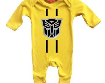 Baby's Transformers Bumble Bee inspired long sleeve yellow bodysuit onesie