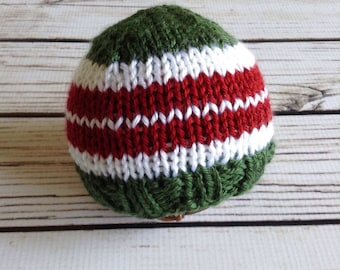 Newborn Christmas Hat, Striped Beanie, Synthetic Beanie, Knit Beanie, Newborn Beanie, Christmas Beanie, Baby First Christmas, Holiday Beanie