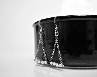 Earrings 925 sterling silver triangles and beads II earrings everyday II II simple and minimalist jewelry geometric jewelry