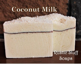 Coconut Milk Soap, Natural Handmade Soap, Coconut Soap, White Soap, Desiccated Coconut Soap, Rustic Soap, Handcrafted Soap, Vegan Skincare