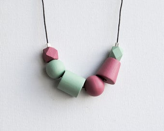 Handpainted Geometric Necklace, Boho necklace, Statement Necklace, Color block necklace, Handmade necklace, Wooden necklace  Mint