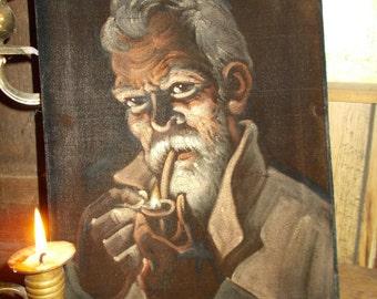 Painting on Velvet,Elvis on Velvet,Man Liteing A Pipe,  Painting,Hand Painted Picture Mexican Art on Velvet