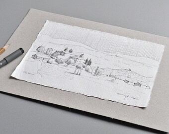 Tuscany, pen and ink drawing, 21 x 15 cm on handmade paper, original drawing by Marc M.J.. Wolff Rosary