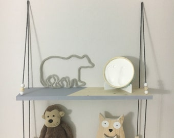 Wood swing shelf grey with 2 levels of Scandinavian style