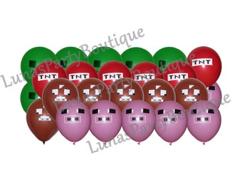 "Set of 24 Misc Gamer Themed 12"" Latex Balloons - Includes 6 ea TNT, Pig, Green, Cow - Great Gamer Themed Birthday Party Decorations"