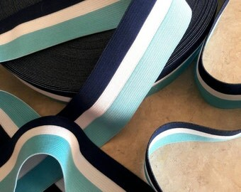 "2"" width, Stripe blue, turquoise, white, elastic, garter, colorful garter, Stripe garter, Stripe garter, stretch, multi color stripe elastic"