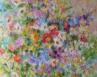 Original oil painting/poppy flowers/wildflowers/red/yellow/white/blue/purple