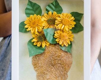 Quilled Sunflowers, 3D Framed Flowers, Quilling Paper Art, Custom Flower Decor, Gift for Her