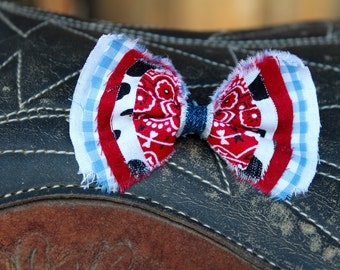 Cowgirl Hair Bow Cowgirl Bow Western Bow Farm Girl Bow Cowgirl Bow Little Girl/Toddler/Baby Bow Cowgirl Headband/Clip Red Paisley Bow