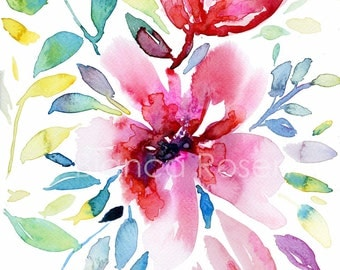 """Original painting 9""""x12"""", flower painting, colorful painting, botanical painting, abstract painting, abstract flower, wall art, red flowers"""