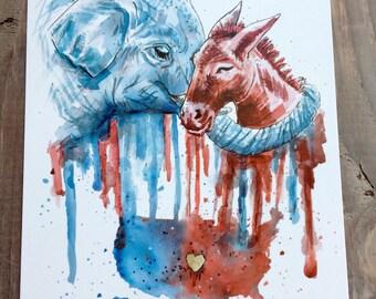Political Wall Art, Political Gifts, US map wall art, Political print, Political parties, elephant print, donkey print, watercolor art print