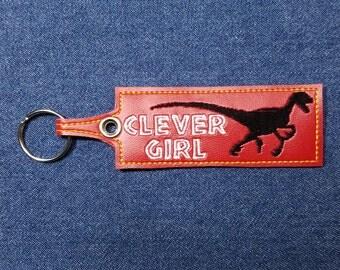 """Clever Girl Velociraptor Keychain – 5"""" x 1.5"""" Clever Girl Keychain – Clever Girl Key Chain – Velociraptor Key Chain – Dinosaur Keychain"""