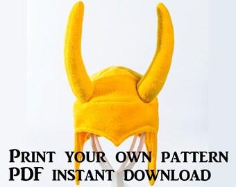 Fleece Loki Hat Pattern – Digital Download PDF Loki Costume Hat Pattern – Helmet Hat Pattern – Loki Fleece Hat Pattern – Horned Hat Pattern
