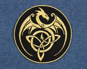 """Gold Dragon Celtic Knot Patch – 4"""" Celtic Knot Dragon Patches – Dragon Celtic Knot Embroidered Patch – Celtic Patch – Patch for Jacket"""