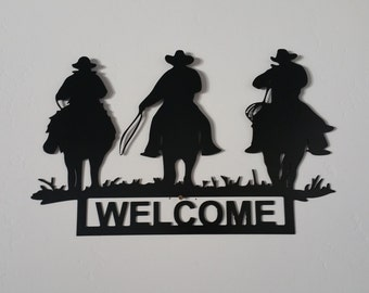3 Cowboy Welcome Sign, Cowboy metal art, western metal art, welcome metal art signs, western welcome signs, western wall decor