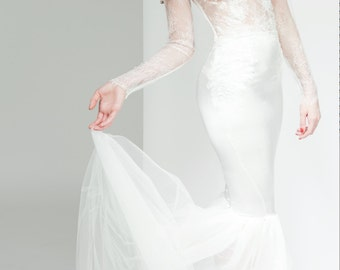 High Neck Chantilly Lace Bridal Gown