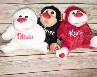 Personalized Valentine Plush Gorillas 2 FOR 8,valentine gifts,valentines day,vday,kids,kid gifts,gifts for kids,valentine gifts for kids