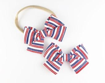 20% OFF Baby Girl, Toddler, Girls Fabric Bow Headband or Clip  -  Patriotic Stripe, 4th of July Bow, Nylon Baby Headband