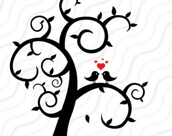 Love Bird Tree SVG, Tree SVG, Wedding svg, Valentine SVG Cut table Design,svg,dxf,png Use With Silhouette Studio & Cricut_Instant Download