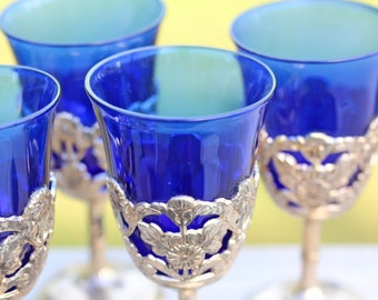 Art Deco Cobalt Blue Cordial/Shot Glasses with Silver-plated Stem, Set of 6