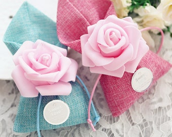 Sweet Love Favour Bags with Flowers, 25 Bags, Sample available, 3 Colours