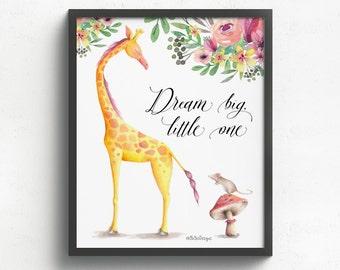 Kids giraffe art - Giraffe kids print - Kids giraffe print - Giraffe nursery art print - Giraffe art for kids -  Child giraffe art print