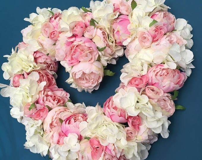 Heart shaped pink Peony and White Hydrangea Spring easter door wreath