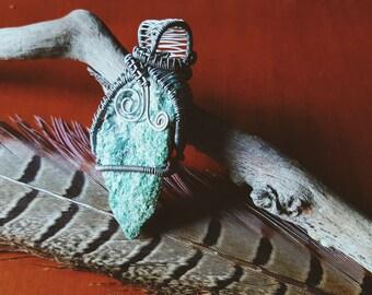 Wire Wrapped Fuchsite Pendant