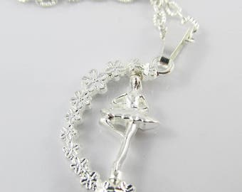 Spinning Ballerina Ballet Charm Necklace 45cm Silver Plate Chain