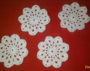 Crocheted Snowflake Coasters - Set of 4