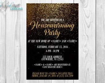 Gold Glitter Housewarming Invitation