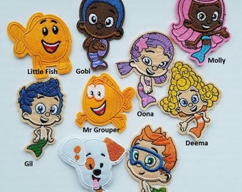 Bubble Guppies Iron On Patches -  Bubble Guppy Appliqués - Ready to Ship