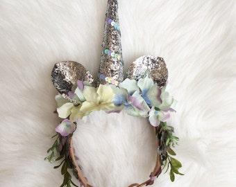 Unicorn Crown, Flower Crown, Costume Crown