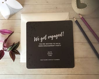 Grey Splats Engagement Invitations