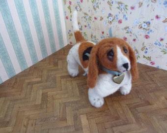 SALE 40 % Barney Basset hound OOAK dog, artist dog, miniature dog,  art dog,  miniature basset hound