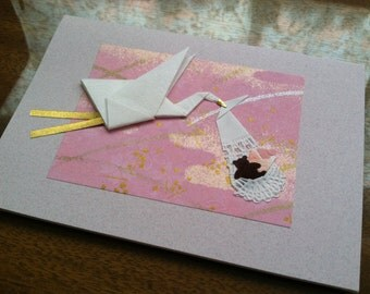 Handmade Origami Welcome Baby Girl Card