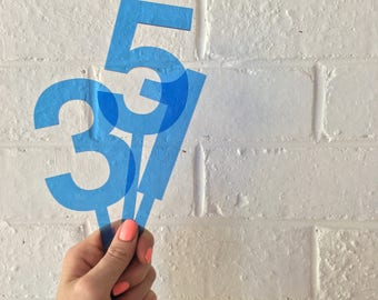 Blue Perspex Cake Topper - More numbers available
