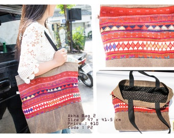 Handmade Akha Woven Bag Handbag/Thai Cotton Bag Tribal bag/Shoulder bag/ Women bag Gypsy bag/Made to order