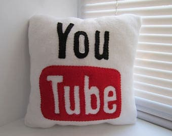 12 x 12 Youtube Pillow - handmade pillow - decorative pillow - geekery pillow