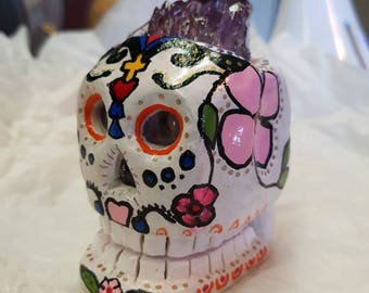 One of a kind Hand Crafted Amethyst Cluster Sugar Skull
