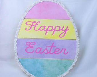 Happy Easter Egg Wall Hanging, Easter Home Decor, Multi-Pastel Wooden Easter Egg, Easter Wall Decoration