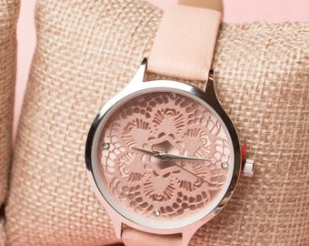 Pink Watch with Lace Style Face