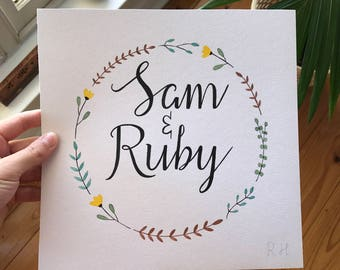FOR COUPLES | Custom Art | Hand Painted Watercolour Calligraphy | Unique Gift Idea | Floral Wreath | Names, Engagement, Wedding, Anniversary