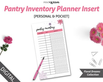 Pantry Inventory Personal Planner Insert Printable, Pantry Inventory List, Pantry Inventory Sheet, Pantry Organization Printable, Filofax
