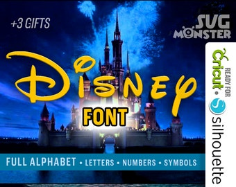 DISNEY FONT SVG Alphabet Cut Files for Vinyl Cutter Heat press transfer Cameo Cricut Design Space, Silhouette Mickey Mouse Disney 007