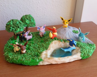Eevee Evolution pokemon diorama polymer clay figure